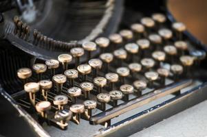 typewriter as a wedding decor at restaurant photo