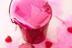 día de San Valentín - decoraciones, plumas rosas y lata en forma de corazón foto