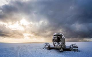 amazing landscape of plane on beach, vik, Iceland photo