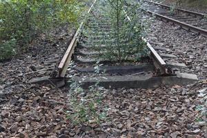 the end of railway. rail road tracks ending photo