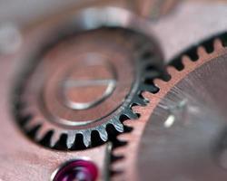 Metal gear wheel. Macro photo