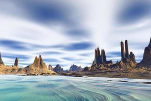 Planeta alienígena de fantasía renderizado 3D. rocas y mar