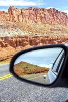 Road in a mirror, Capitol Reef National Park, USA.