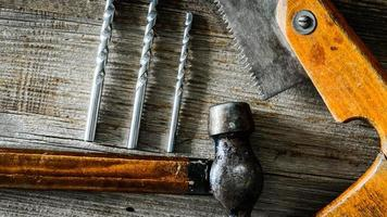 building tools on old table photo