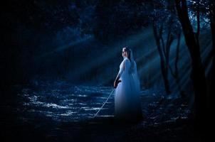 Elven girl with sword in night forest photo