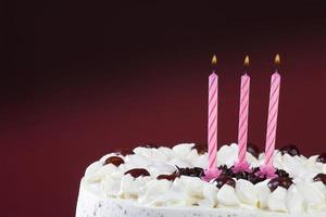 Black forest cake with candles, close-up photo