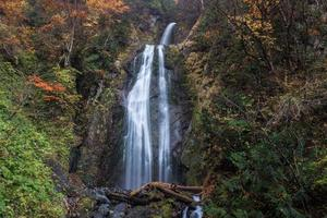 hermosa cascada en el bosque, paisaje de otoño