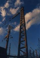 el poste de acero oxidado
