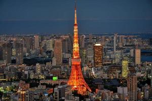 Tokyo area dense building nightscape and Tokyo tower