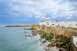 City wall on the ocean coast