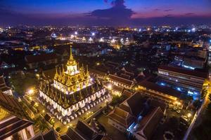 Aerial view of Loha Prasat at Wat Ratchanadda at twilight
