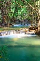 Deep forest Waterfall in Kanchanaburi, Thailand.