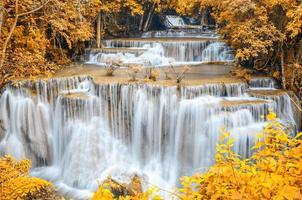 cascada del bosque profundo, huay mae khamin, kanchanaburi, tailandia