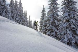 Mujer mochilero está caminando en el bosque en invierno foto