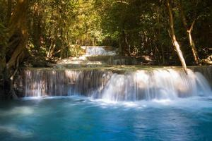 Deep forest blue stream waterfalls during spring season