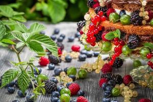 Primer plano de una torta de frutas silvestres frescas en el bosque foto
