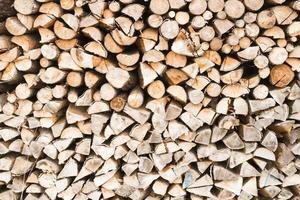 Piled split firewood photo