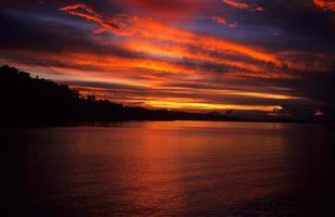Beautiful sunset in Solomon Islands photo