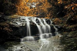 Waterfall with blue stream photo