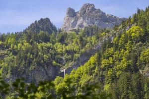 Swiss Alps seen through forest in Blausee nature park