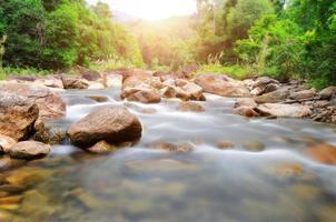 Manora pequeña cascada y roca en bosque tropical foto