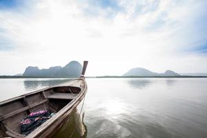 Lonely boat on lake. Composition of nature