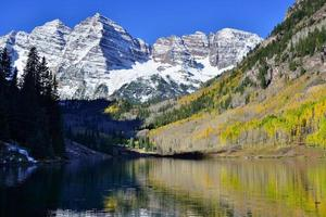 Maroon Bells during foliage season photo