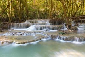 hermosa vista del paisaje de cascadas de arroyo azul