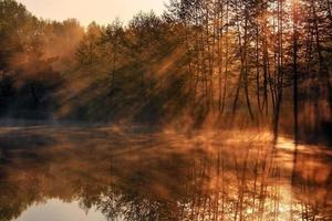 Reflection of the sunrays in the lake