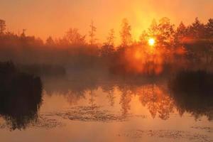 reflectie van de eerste stralen van het ochtendzonlicht