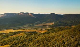 Ukraine, Crimean Mountains: Sunrise Time In Mountain Valley photo