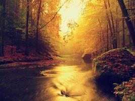 Dreamy autumn mountain river photo