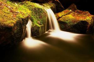 cascada en el pequeño arroyo de montaña. agua cristalina fría foto