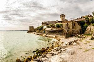 Sirmione peninsula coastline, Italy