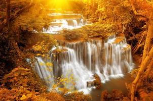 Waterfall with sunray