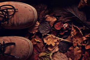 vieilles chaussures en cuir cassées tournée des feuilles d'automne
