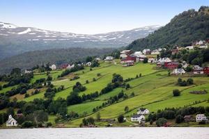Hafslo village at lakes Hafslovatn