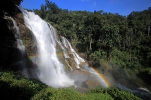 Powerful stream waterfall in rainforest with rainbow, Chiang Mai