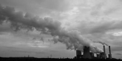 coal power plant in black and white
