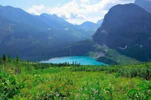 Grinnell Glacier and lake in Glacier National Park photo
