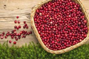 cranberries no velho tabuleiro rústico e musgo