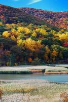 montaña de otoño con lago