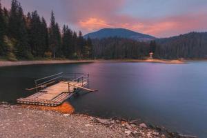 Montañas de los Cárpatos. balsa matutina del lago synevir
