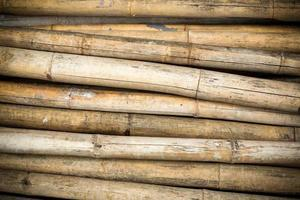 Close up background of dry thick bamboo poles with vignette