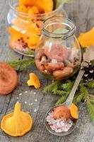 Jar of picked chanterelles and fresh mushrooms