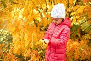 Little girl playing with autumn leaves photo