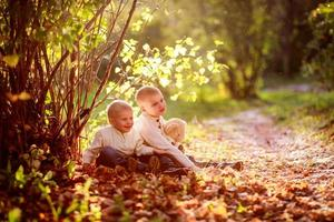 boy brother children under a bush golden autumn