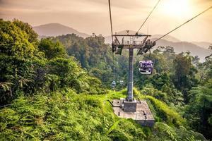 Tranvía aéreo subiendo en las montañas de la selva tropical