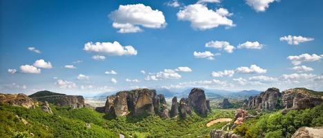 Panoramic view on Meteora in Trikala, Greece.