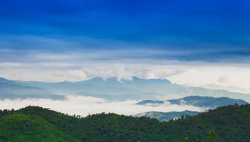 niebla de la mañana y cielo.